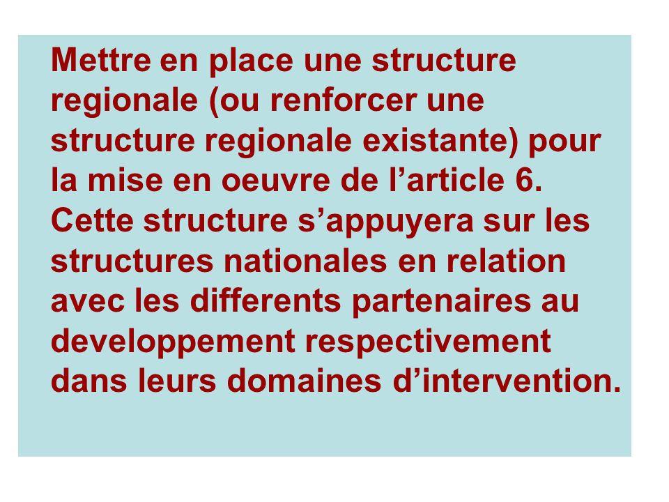 Mettre en place une structure regionale (ou renforcer une structure regionale existante) pour la mise en oeuvre de larticle 6.