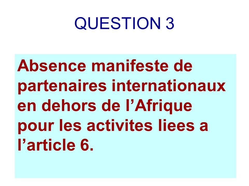 QUESTION 3 Absence manifeste de partenaires internationaux en dehors de lAfrique pour les activites liees a larticle 6.