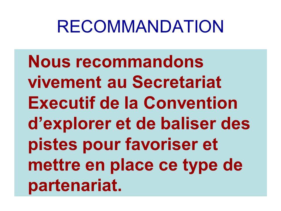RECOMMANDATION Nous recommandons vivement au Secretariat Executif de la Convention dexplorer et de baliser des pistes pour favoriser et mettre en place ce type de partenariat.
