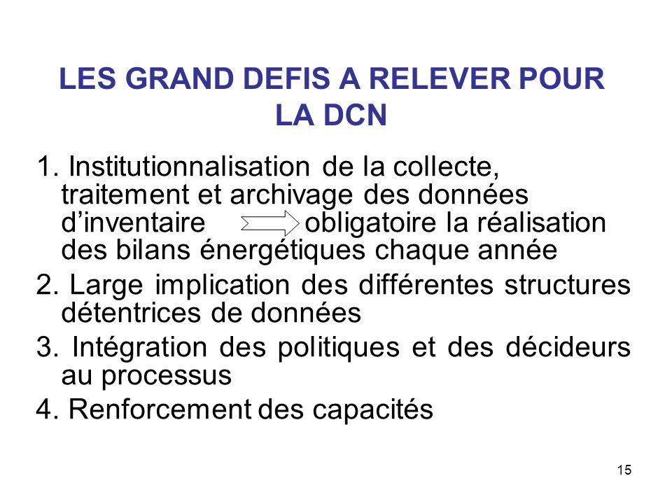 15 LES GRAND DEFIS A RELEVER POUR LA DCN 1.