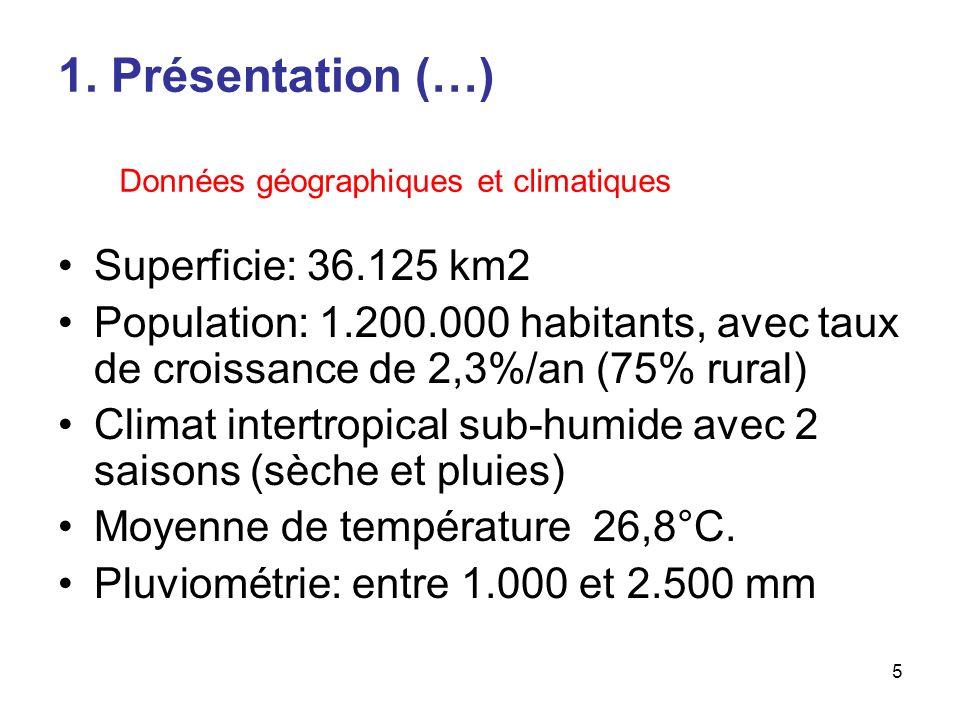 5 Superficie: 36.125 km2 Population: 1.200.000 habitants, avec taux de croissance de 2,3%/an (75% rural) Climat intertropical sub-humide avec 2 saisons (sèche et pluies) Moyenne de température 26,8°C.
