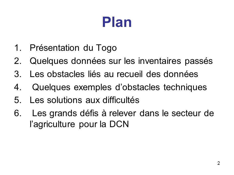 2 Plan 1.Présentation du Togo 2.Quelques données sur les inventaires passés 3.Les obstacles liés au recueil des données 4. Quelques exemples dobstacle