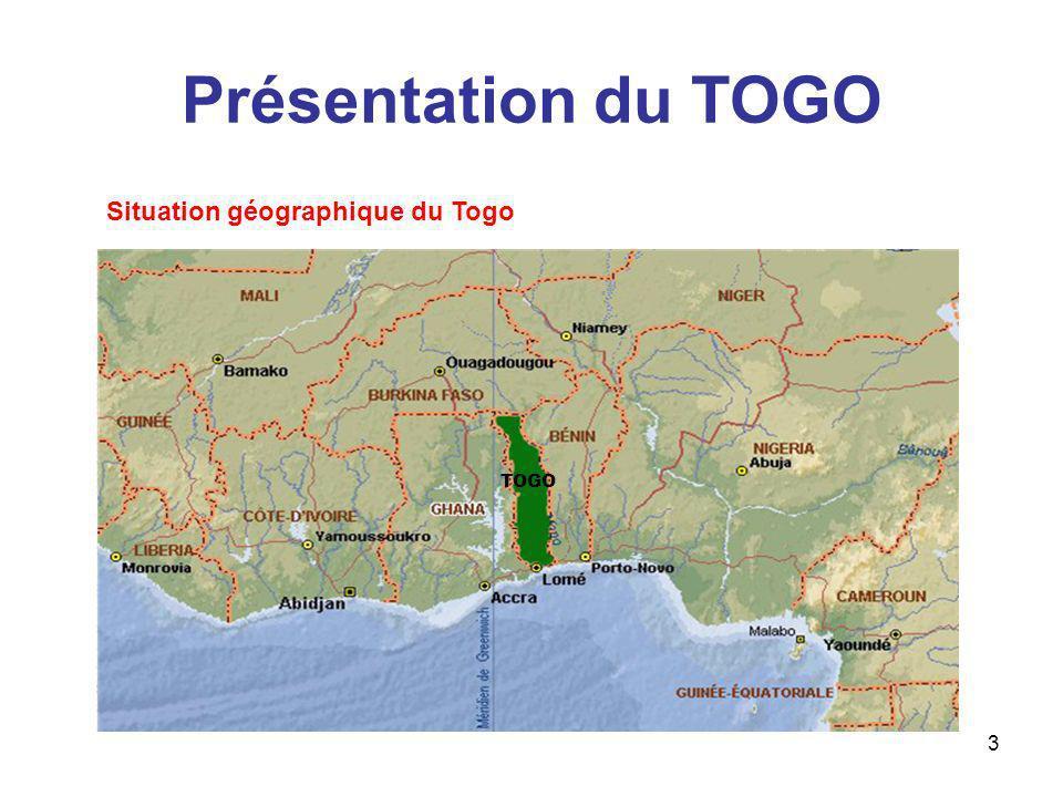 3 Présentation du TOGO Situation géographique du Togo TOGO