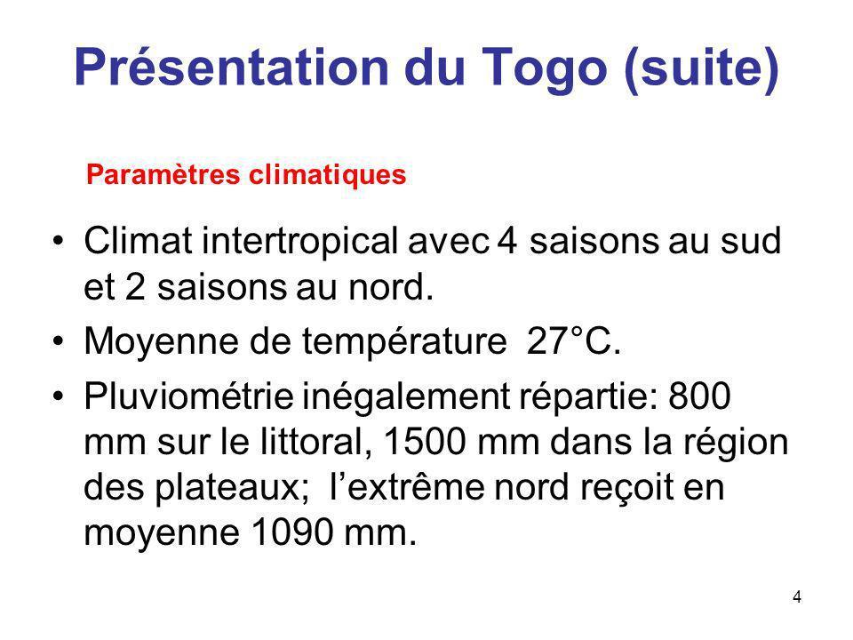 4 Présentation du Togo (suite) Climat intertropical avec 4 saisons au sud et 2 saisons au nord. Moyenne de température 27°C. Pluviométrie inégalement