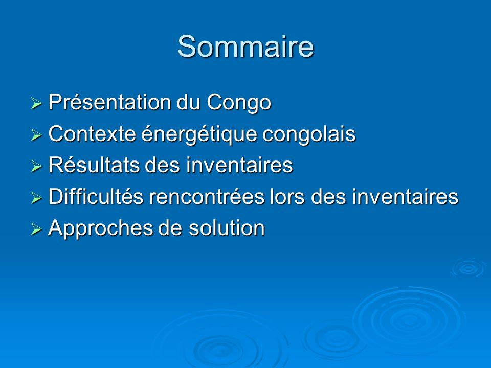 Sommaire Présentation du Congo Présentation du Congo Contexte énergétique congolais Contexte énergétique congolais Résultats des inventaires Résultats