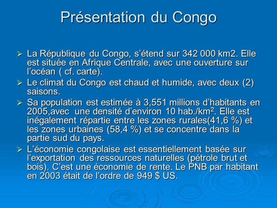 Contexte énergétique congolais Consommation énergétique dominée par le bois énergie(bois de chauffe et charbon de bois); Consommation énergétique dominée par le bois énergie(bois de chauffe et charbon de bois); Pays producteur de pétrole brut( plus de 10 millions de tonnes/an); Pays producteur de pétrole brut( plus de 10 millions de tonnes/an); Production de pétrole brut essentiellement exportée Production de pétrole brut essentiellement exportée Raffinerie dune capacité de 1 200 000 tonnes/an, mais quantité raffinée /an inférieure à 600 000 tonnes.