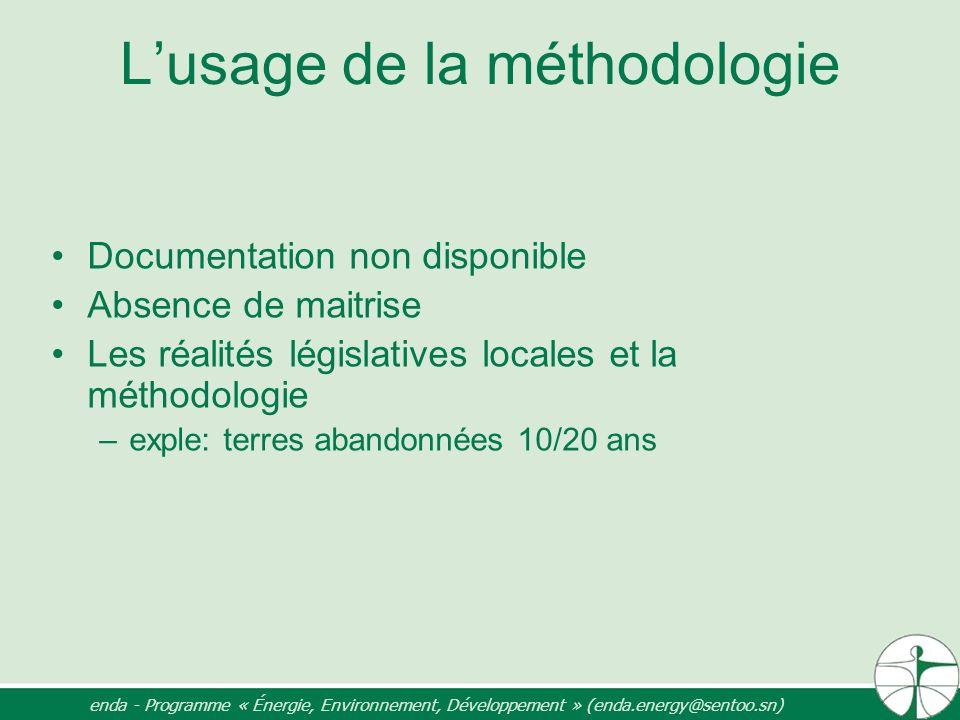 Lusage de la méthodologie Documentation non disponible Absence de maitrise Les réalités législatives locales et la méthodologie –exple: terres abandon