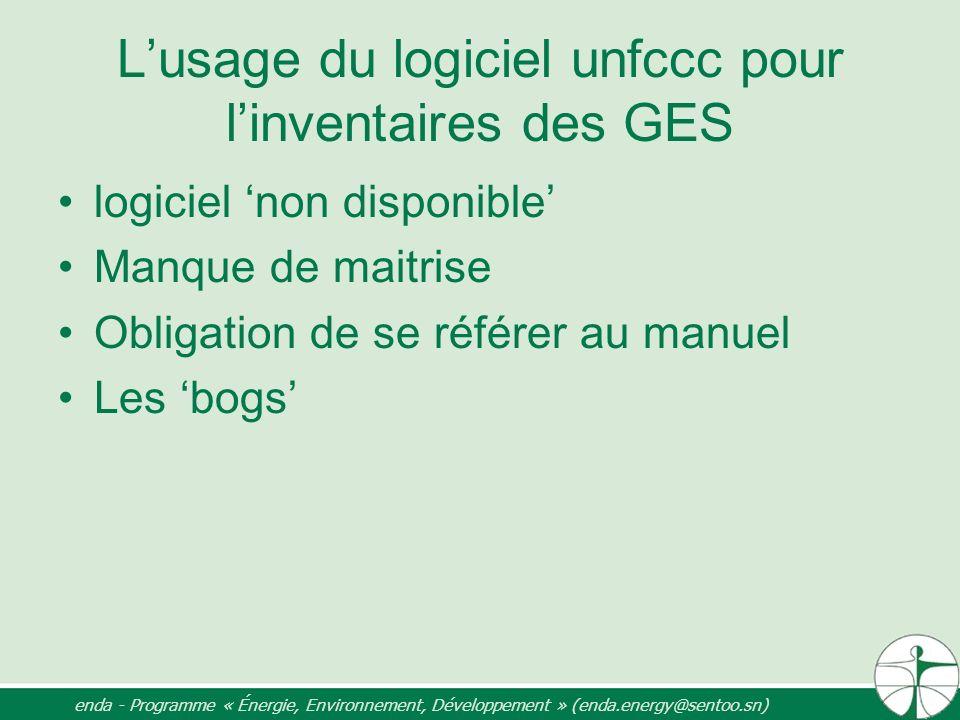 Lusage du logiciel unfccc pour linventaires des GES logiciel non disponible Manque de maitrise Obligation de se référer au manuel Les bogs enda - Prog