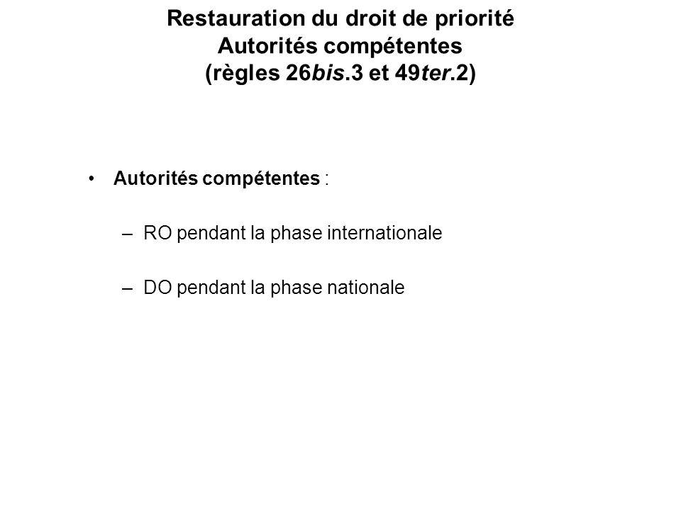 Restauration du droit de priorité Autorités compétentes (règles 26bis.3 et 49ter.2) Autorités compétentes : –RO pendant la phase internationale –DO pendant la phase nationale