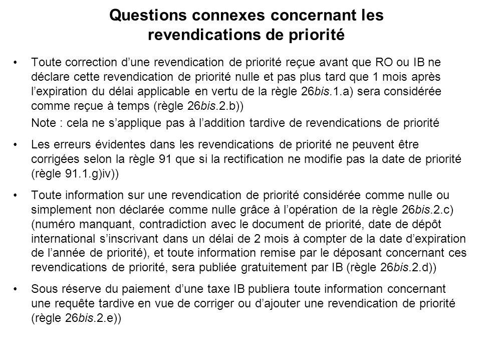 Questions connexes concernant les revendications de priorité Toute correction dune revendication de priorité reçue avant que RO ou IB ne déclare cette revendication de priorité nulle et pas plus tard que 1 mois après lexpiration du délai applicable en vertu de la règle 26bis.1.a) sera considérée comme reçue à temps (règle 26bis.2.b)) Note : cela ne sapplique pas à laddition tardive de revendications de priorité Les erreurs évidentes dans les revendications de priorité ne peuvent être corrigées selon la règle 91 que si la rectification ne modifie pas la date de priorité (règle 91.1.g)iv)) Toute information sur une revendication de priorité considérée comme nulle ou simplement non déclarée comme nulle grâce à lopération de la règle 26bis.2.c) (numéro manquant, contradiction avec le document de priorité, date de dépôt international sinscrivant dans un délai de 2 mois à compter de la date dexpiration de lannée de priorité), et toute information remise par le déposant concernant ces revendications de priorité, sera publiée gratuitement par IB (règle 26bis.2.d)) Sous réserve du paiement dune taxe IB publiera toute information concernant une requête tardive en vue de corriger ou dajouter une revendication de priorité (règle 26bis.2.e))