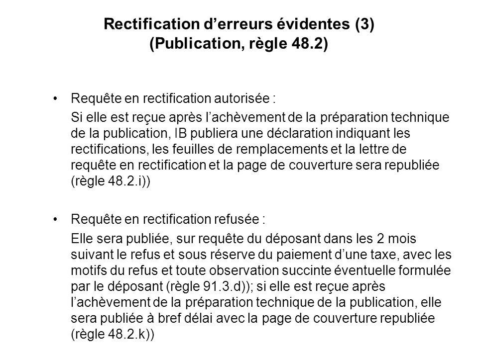 Rectification derreurs évidentes (3) (Publication, règle 48.2) Requête en rectification autorisée : Si elle est reçue après lachèvement de la préparation technique de la publication, IB publiera une déclaration indiquant les rectifications, les feuilles de remplacements et la lettre de requête en rectification et la page de couverture sera republiée (règle 48.2.i)) Requête en rectification refusée : Elle sera publiée, sur requête du déposant dans les 2 mois suivant le refus et sous réserve du paiement dune taxe, avec les motifs du refus et toute observation succinte éventuelle formulée par le déposant (règle 91.3.d)); si elle est reçue après lachèvement de la préparation technique de la publication, elle sera publiée à bref délai avec la page de couverture republiée (règle 48.2.k))