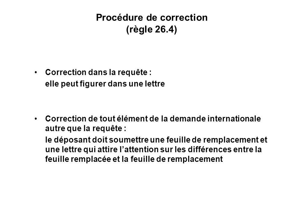 Procédure de correction (règle 26.4) Correction dans la requête : elle peut figurer dans une lettre Correction de tout élément de la demande internationale autre que la requête : le déposant doit soumettre une feuille de remplacement et une lettre qui attire lattention sur les différences entre la feuille remplacée et la feuille de remplacement