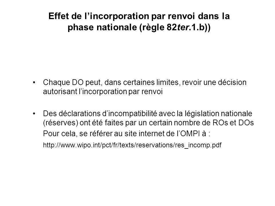 Effet de lincorporation par renvoi dans la phase nationale (règle 82ter.1.b)) Chaque DO peut, dans certaines limites, revoir une décision autorisant lincorporation par renvoi Des déclarations dincompatibilité avec la législation nationale (réserves) ont été faites par un certain nombre de ROs et DOs Pour cela, se référer au site internet de lOMPI à : http://www.wipo.int/pct/fr/texts/reservations/res_incomp.pdf
