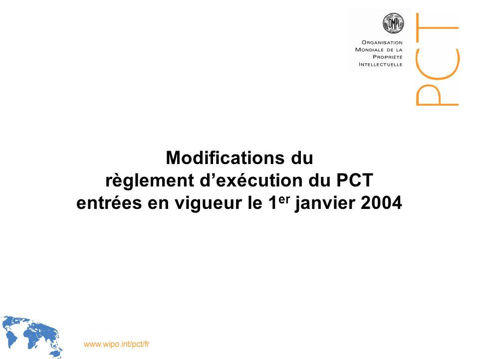 WIPO Recentdv03-1 Modifications du règlement dexécution du PCT entrées en vigueur le 1 er janvier 2004