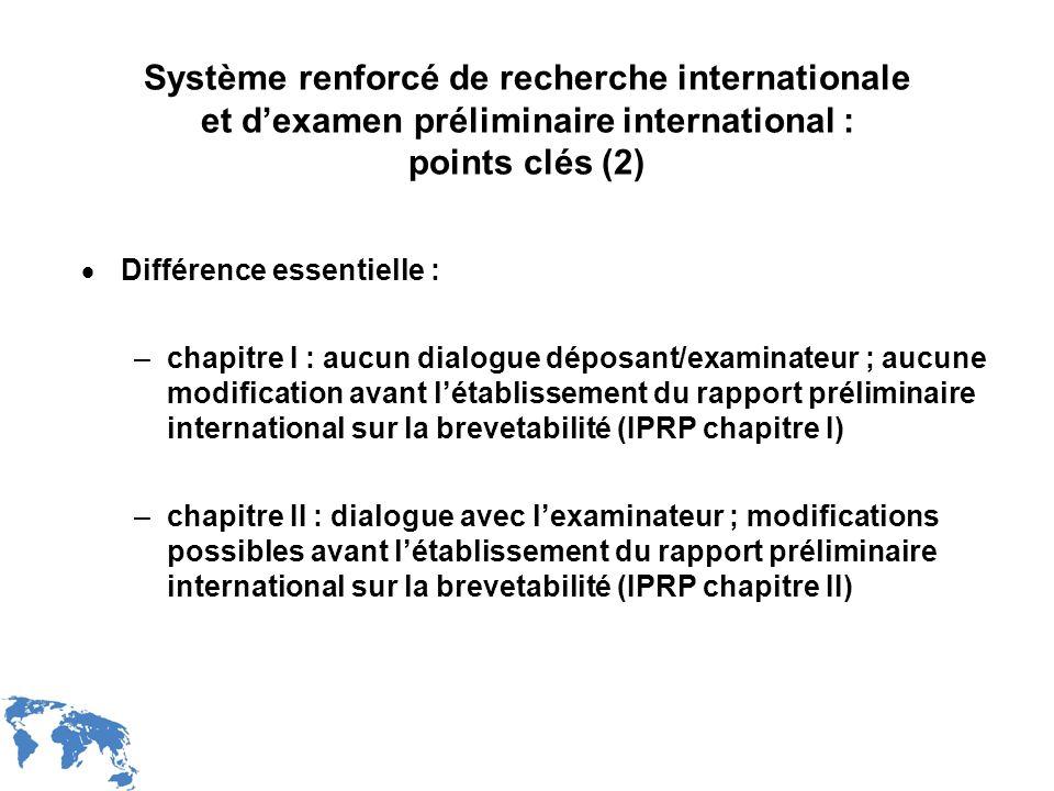 WIPO Recentdv03-10 Système renforcé de recherche internationale et dexamen préliminaire international : points clés (2) Différence essentielle : –chap