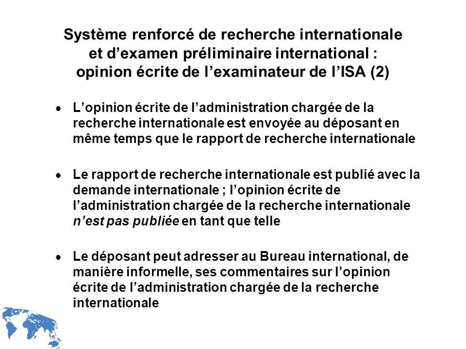 WIPO Recentdv03-12 Système renforcé de recherche internationale et dexamen préliminaire international : opinion écrite de lexaminateur de lISA (2) Lop