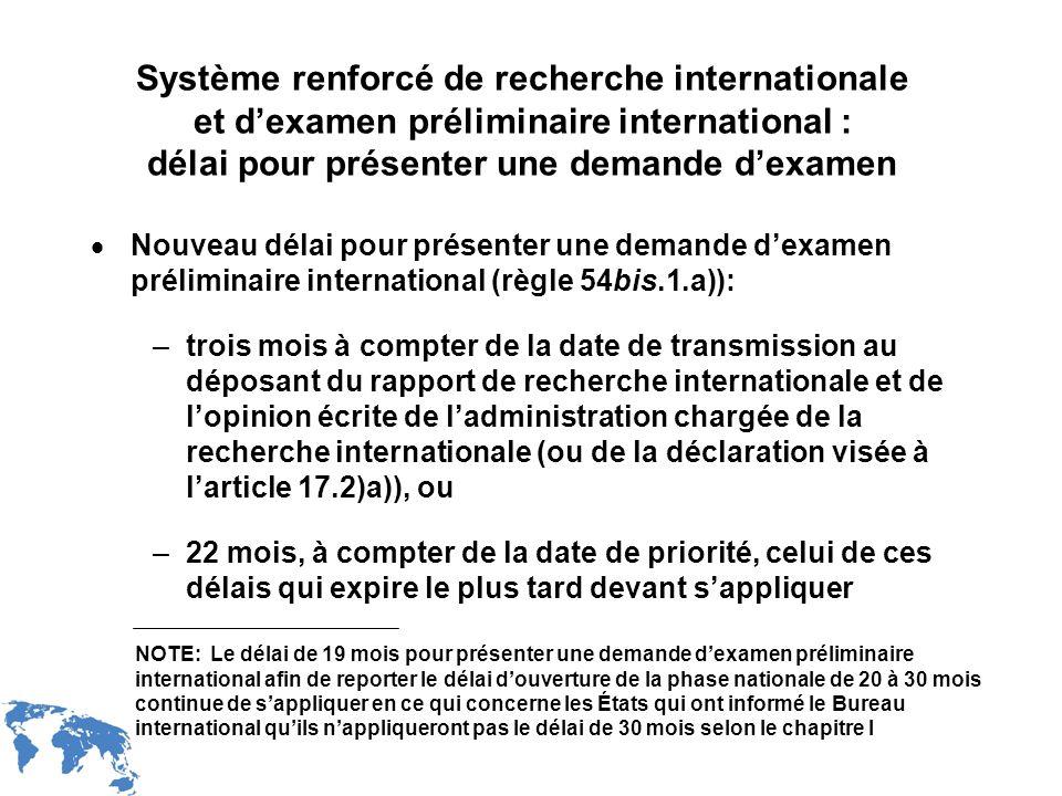 WIPO Recentdv03-17 Système renforcé de recherche internationale et dexamen préliminaire international : délai pour présenter une demande dexamen Nouve
