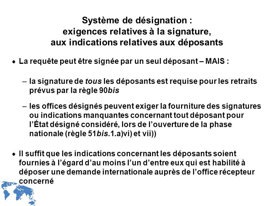 WIPO Recentdv03-22 Système de désignation : exigences relatives à la signature, aux indications relatives aux déposants La requête peut être signée pa