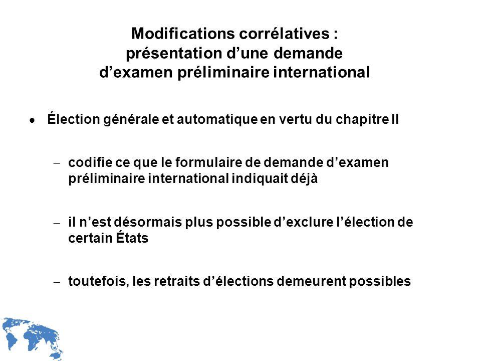 WIPO Recentdv03-25 Modifications corrélatives : présentation dune demande dexamen préliminaire international Élection générale et automatique en vertu