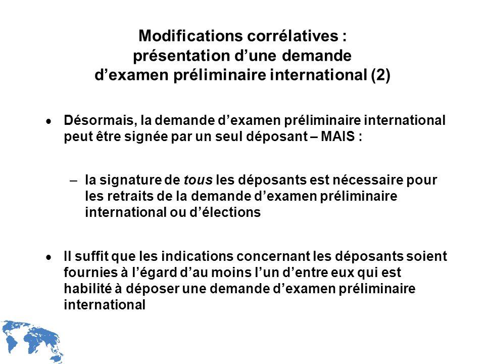 WIPO Recentdv03-26 Modifications corrélatives : présentation dune demande dexamen préliminaire international (2) Désormais, la demande dexamen prélimi