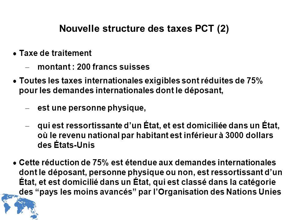 WIPO Recentdv03-28 Nouvelle structure des taxes PCT (2) Taxe de traitement montant : 200 francs suisses Toutes les taxes internationales exigibles son
