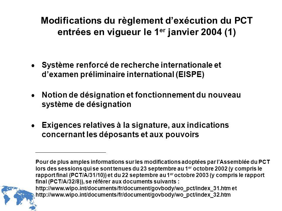 WIPO Recentdv03-4 Modifications du règlement dexécution du PCT entrées en vigueur le 1 er janvier 2004 (1) Système renforcé de recherche international
