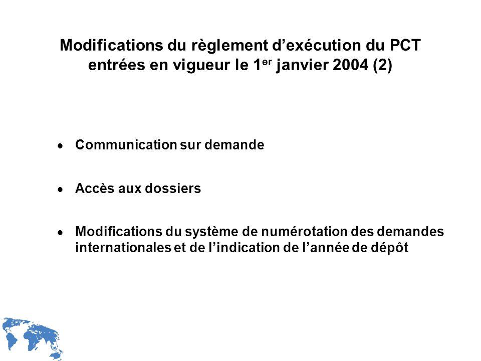 WIPO Recentdv03-5 Modifications du règlement dexécution du PCT entrées en vigueur le 1 er janvier 2004 (2) Communication sur demande Accès aux dossier