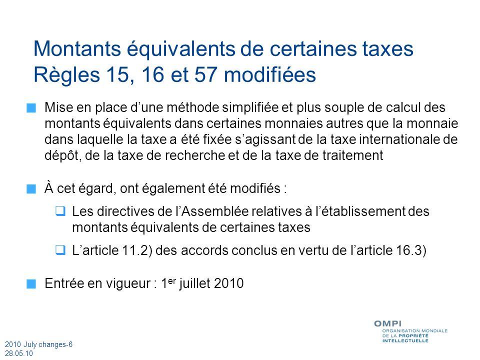 2010 July changes-6 28.05.10 Montants équivalents de certaines taxes Règles 15, 16 et 57 modifiées Mise en place dune méthode simplifiée et plus souple de calcul des montants équivalents dans certaines monnaies autres que la monnaie dans laquelle la taxe a été fixée sagissant de la taxe internationale de dépôt, de la taxe de recherche et de la taxe de traitement À cet égard, ont également été modifiés : Les directives de lAssemblée relatives à létablissement des montants équivalents de certaines taxes Larticle 11.2) des accords conclus en vertu de larticle 16.3) Entrée en vigueur : 1 er juillet 2010