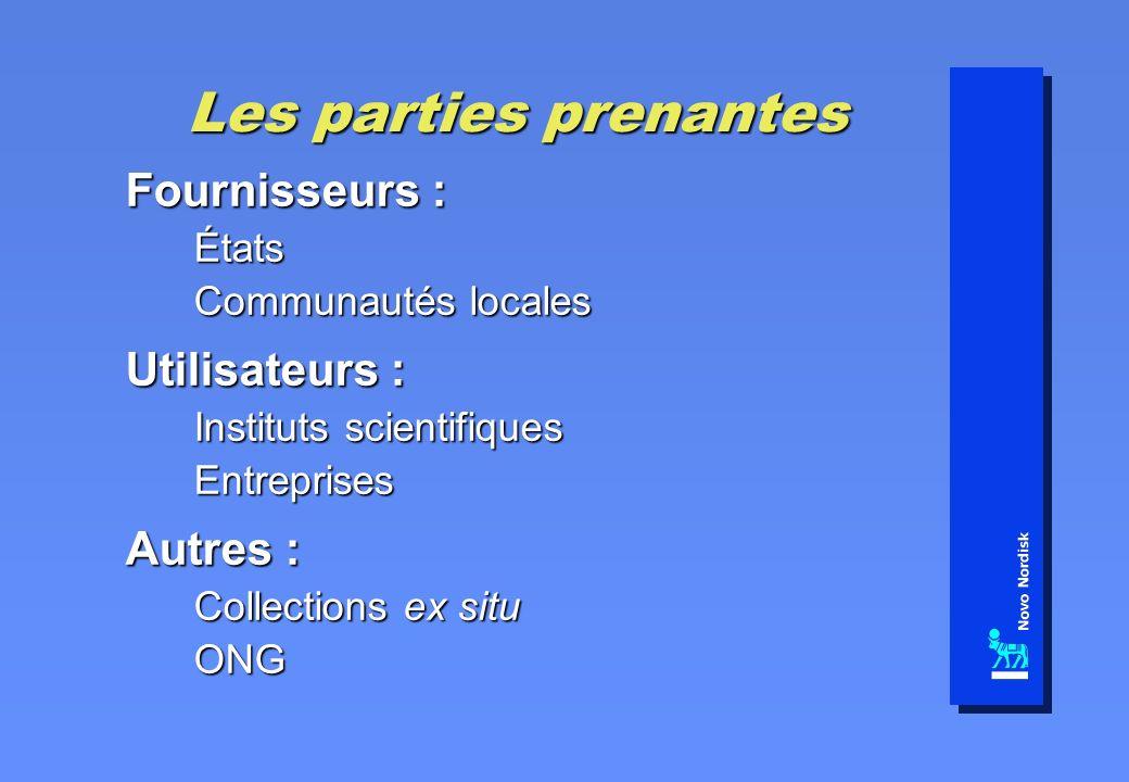 Les parties prenantes Fournisseurs : États Communautés locales Utilisateurs : Instituts scientifiques Entreprises Autres : Collections ex situ ONG