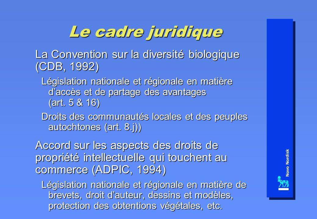 Le cadre juridique La Convention sur la diversité biologique (CDB, 1992) Législation nationale et régionale en matière daccès et de partage des avantages (art.