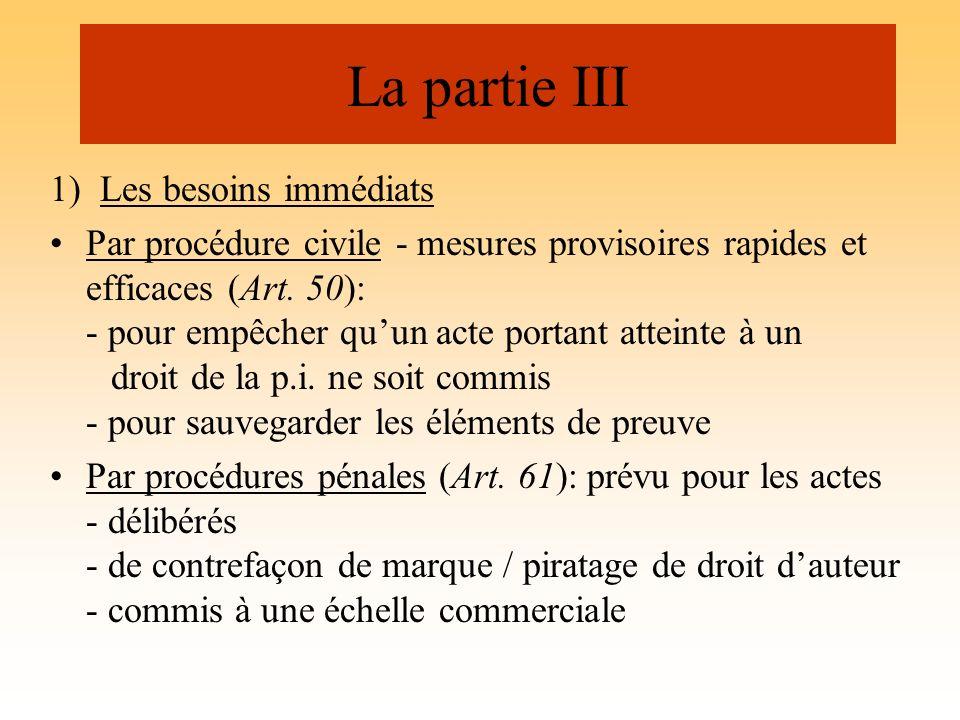 La partie III 1) Les besoins immédiats Par procédure civile - mesures provisoires rapides et efficaces (Art. 50): - pour empêcher quun acte portant at