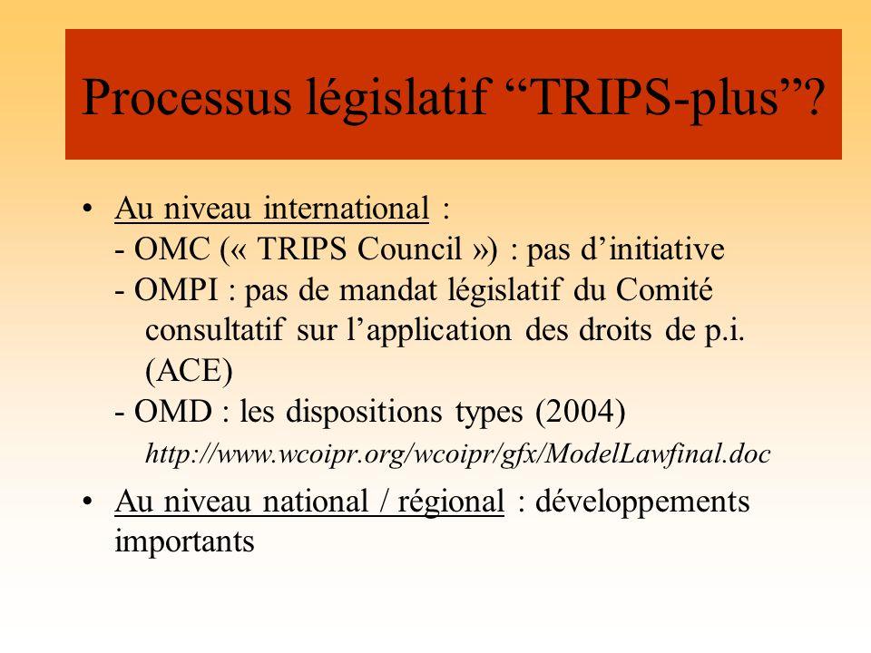 Processus législatif TRIPS-plus? Au niveau international : - OMC (« TRIPS Council ») : pas dinitiative - OMPI : pas de mandat législatif du Comité con