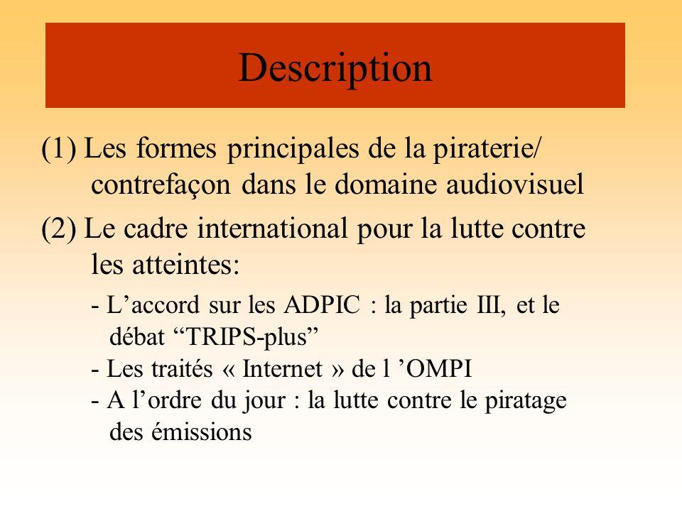 Description (1) Les formes principales de la piraterie/ contrefaçon dans le domaine audiovisuel (2) Le cadre international pour la lutte contre les at