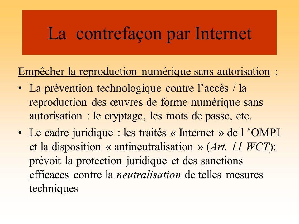 La contrefaçon par Internet Empêcher la reproduction numérique sans autorisation : La prévention technologique contre laccès / la reproduction des œuv