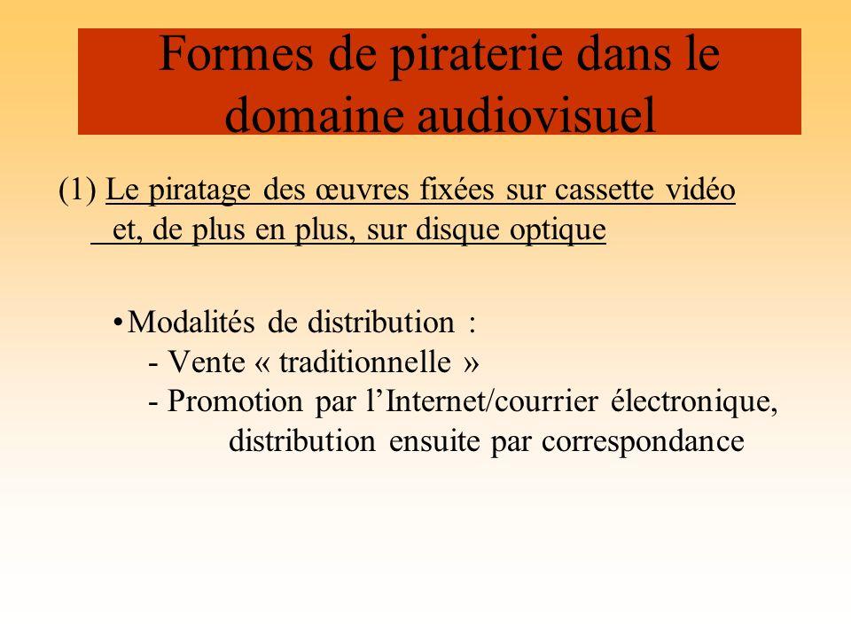 (1) Le piratage des œuvres fixées sur cassette vidéo et, de plus en plus, sur disque optique Modalités de distribution : - Vente « traditionnelle » -