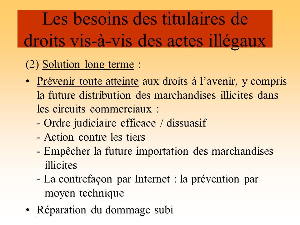 (2) Solution long terme : Prévenir toute atteinte aux droits à lavenir, y compris la future distribution des marchandises illicites dans les circuits