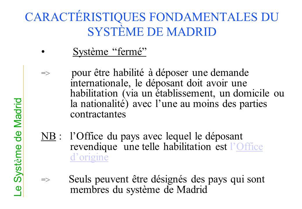 CARACTÉRISTIQUES FONDAMENTALES DU SYSTÈME DE MADRID Système fermé => pour être habilité à déposer une demande internationale, le déposant doit avoir u
