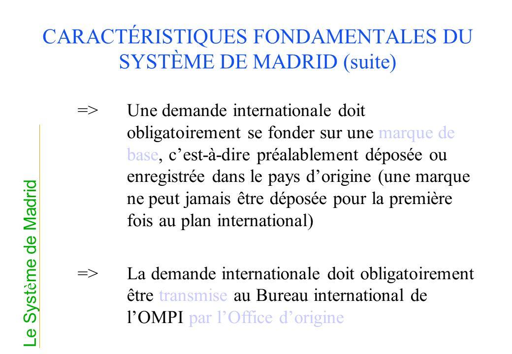 CARACTÉRISTIQUES FONDAMENTALES DU SYSTÈME DE MADRID (suite) =>Une demande internationale doit obligatoirement se fonder sur une marque de base, cest-à