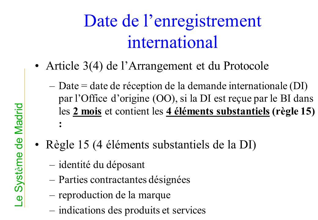 Date de lenregistrement international Article 3(4) de lArrangement et du Protocole –Date = date de réception de la demande internationale (DI) par lOf