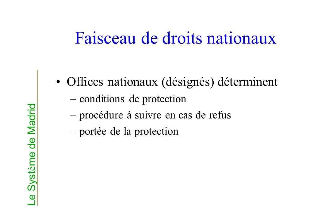 Faisceau de droits nationaux Offices nationaux (désignés) déterminent –conditions de protection –procédure à suivre en cas de refus –portée de la prot