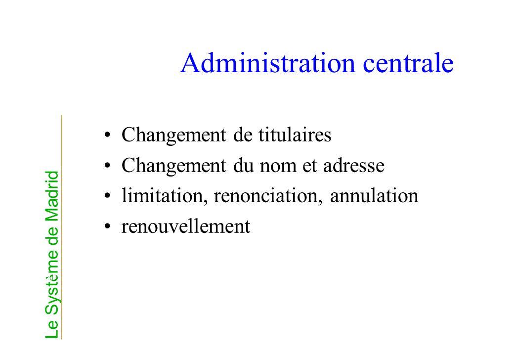 Administration centrale Changement de titulaires Changement du nom et adresse limitation, renonciation, annulation renouvellement Le Syst è me de Madr