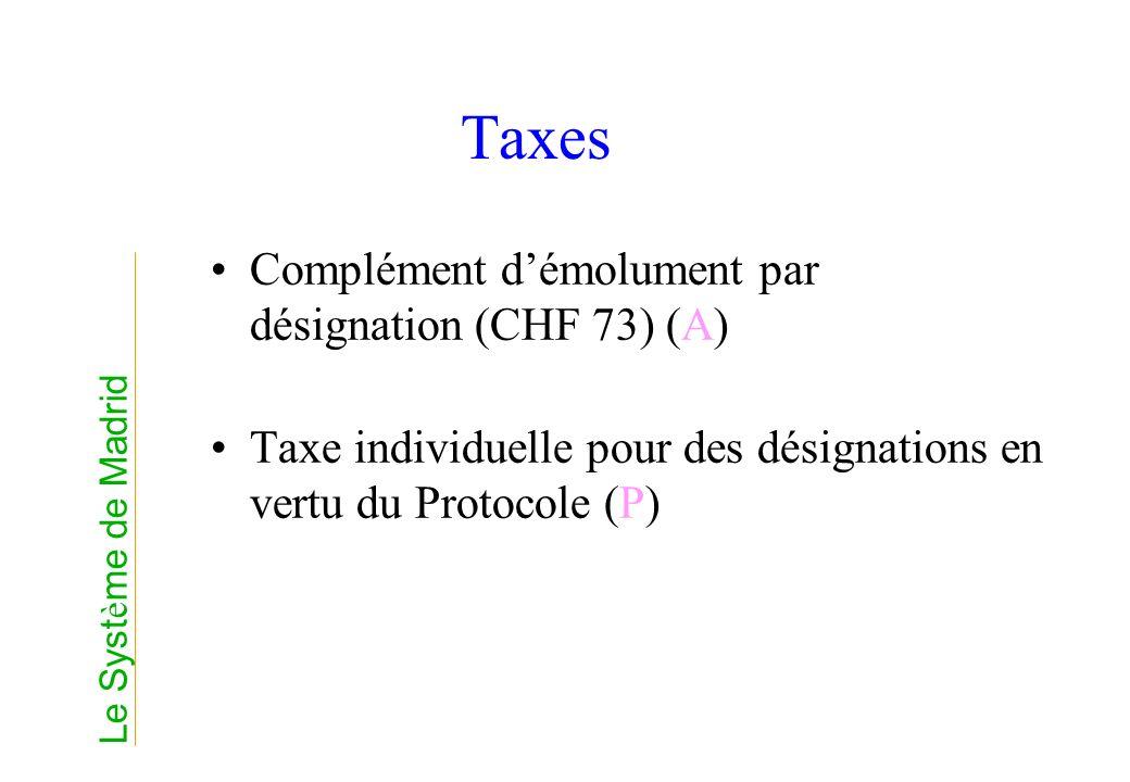 Taxes Complément démolument par désignation (CHF 73) (A) Taxe individuelle pour des désignations en vertu du Protocole (P) Le Syst è me de Madrid