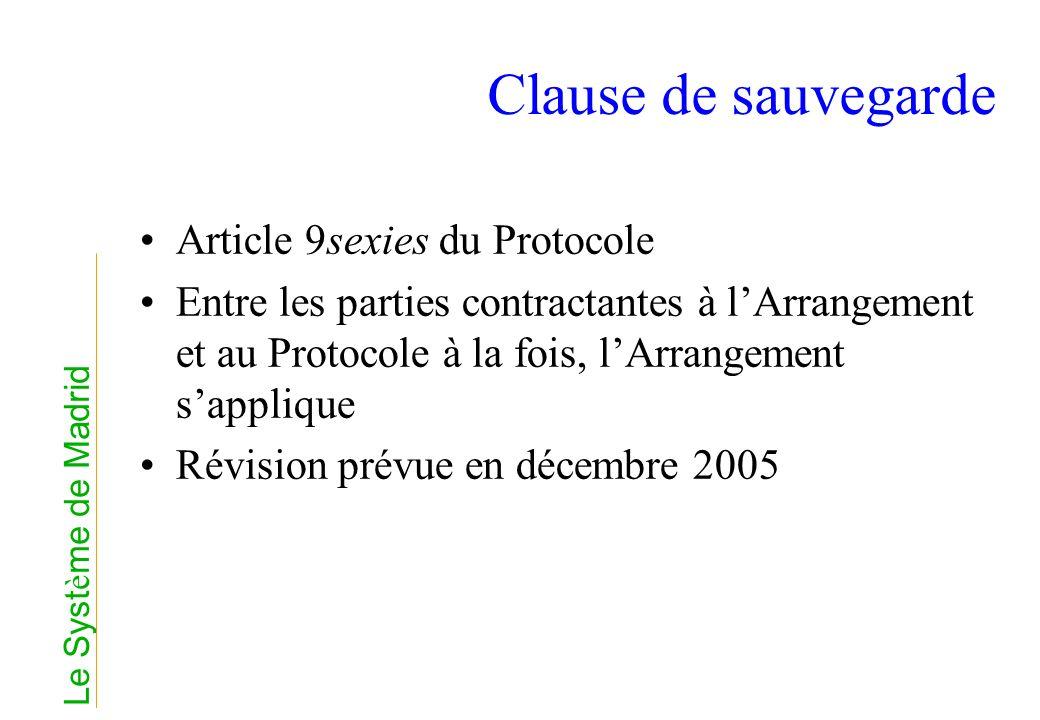 Clause de sauvegarde Article 9sexies du Protocole Entre les parties contractantes à lArrangement et au Protocole à la fois, lArrangement sapplique Rév