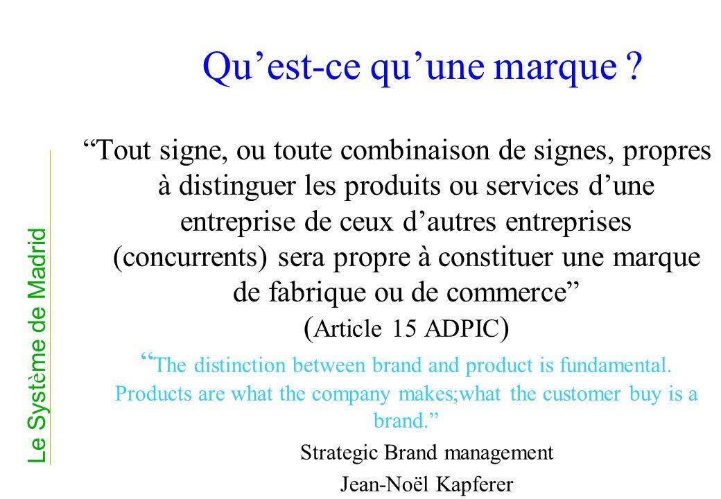 Fonctions dune marque Permettre de distinguer les produits et services dune entreprise de ceux dune autre entreprise Offrir aux consommateurs une garantie de qualité Assurer la promotion et permettre la vente de produits ou de services Le Syst è me de Madrid