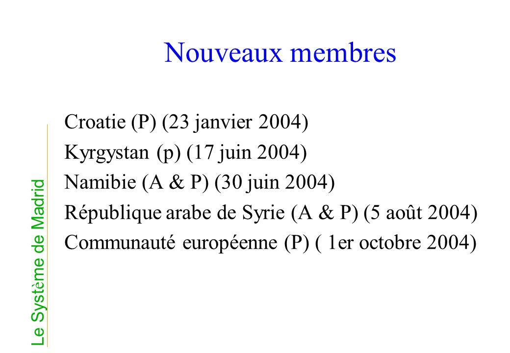 Nouveaux membres Croatie (P) (23 janvier 2004) Kyrgystan (p) (17 juin 2004) Namibie (A & P) (30 juin 2004) République arabe de Syrie (A & P) (5 août 2
