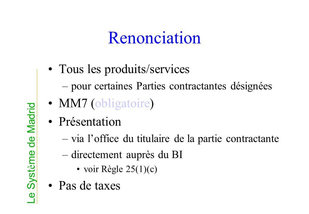 Renonciation Tous les produits/services –pour certaines Parties contractantes désignées MM7 (obligatoire) Présentation –via loffice du titulaire de la