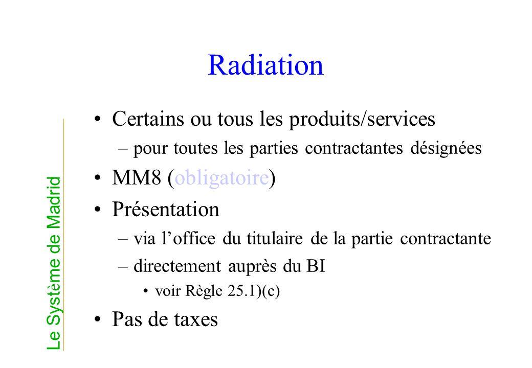 Radiation Certains ou tous les produits/services –pour toutes les parties contractantes désignées MM8 (obligatoire) Présentation –via loffice du titul