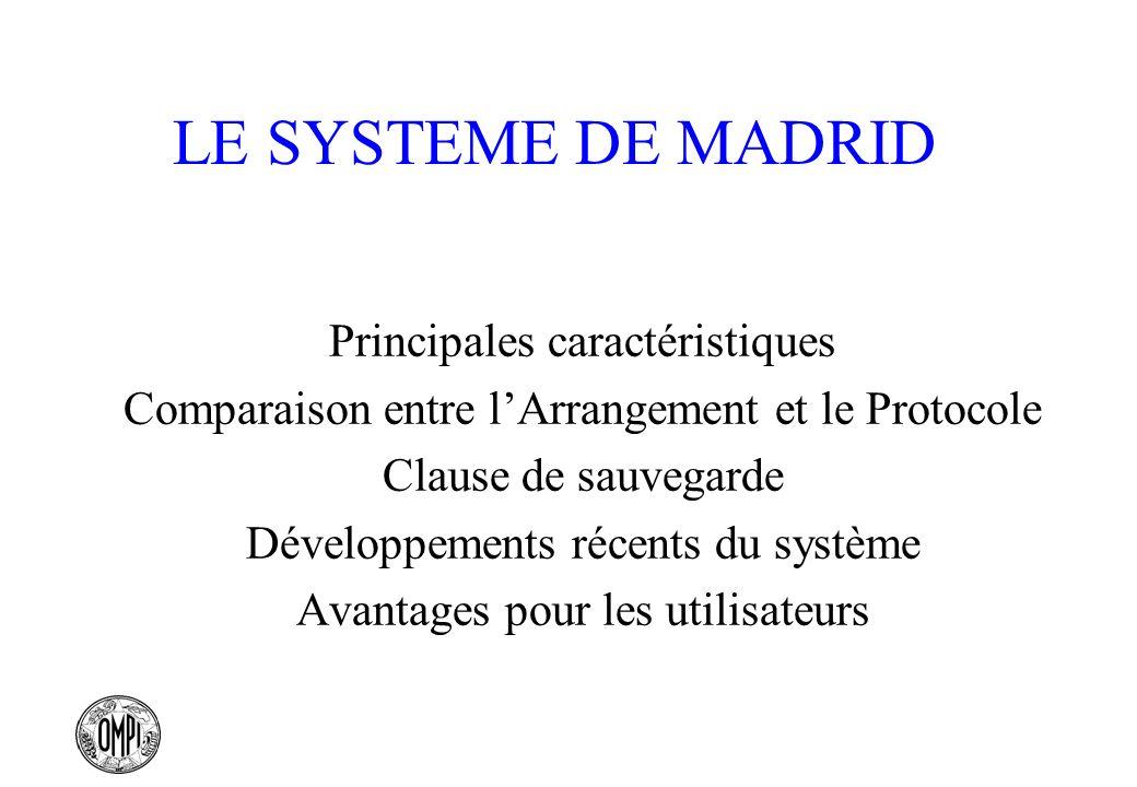 LE SYSTEME DE MADRID Principales caractéristiques Comparaison entre lArrangement et le Protocole Clause de sauvegarde Développements récents du systèm