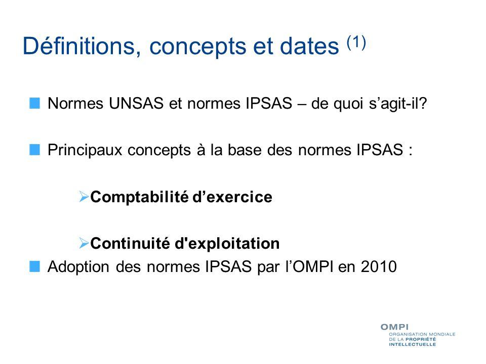 Définitions, concepts et dates (1) Normes UNSAS et normes IPSAS – de quoi sagit-il? Principaux concepts à la base des normes IPSAS : Comptabilité dexe