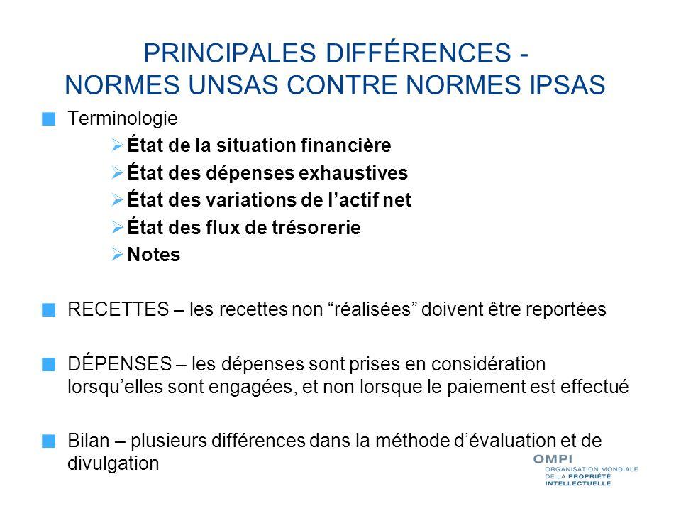 PRINCIPALES DIFFÉRENCES - NORMES UNSAS CONTRE NORMES IPSAS Terminologie État de la situation financière État des dépenses exhaustives État des variati